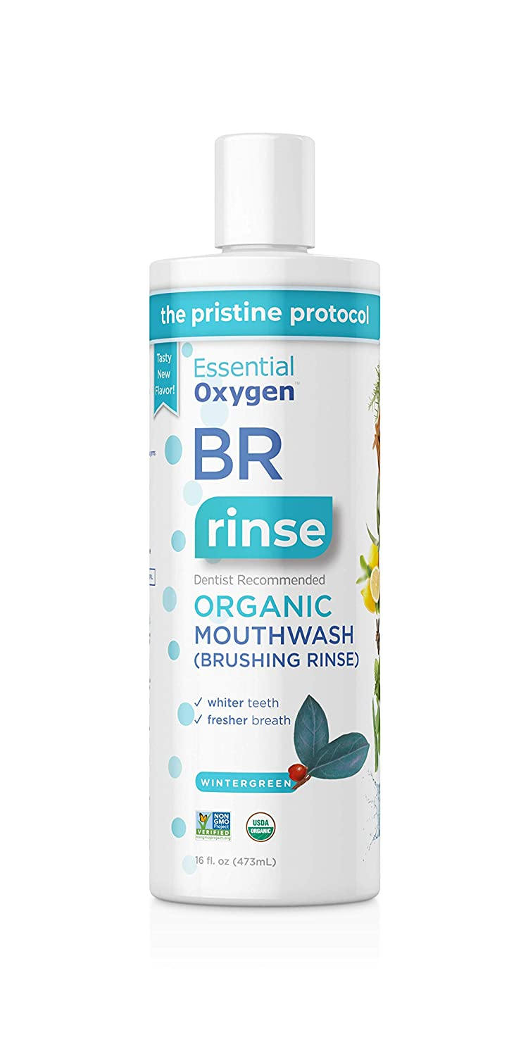 Essential Oxygen BR Certified Organic Brushing Rinse, All Natural Mouthwash for Whiter Teeth, Wintergreen
