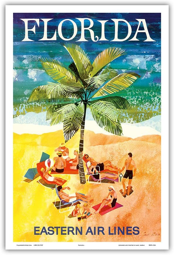 Florida - Eastern Air Lines - Sunbathers Around Palm Tree - Vintage Airline Travel Poster by Jane Oliver c.1960s - Master Art Print 12in x 18in
