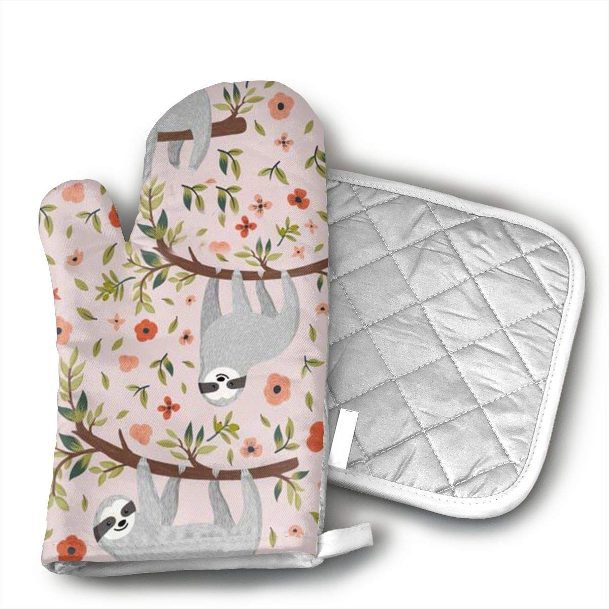 Pink Sloth Cotton Oven Mitts Pot Holders Set - Kitchen Oven Mitt Heat Resistant, Non-Slip Grip Oven Gloves PotholderCooking,Baking & BBQ,