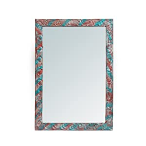 999Store Handmade Wooden Decorative Bathroom Mirror Multicolour Blue Flowers Wall Small Mirror
