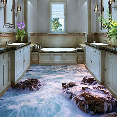 Amazon Com 3d Waterproof Wallpaper For Bathroom Floor