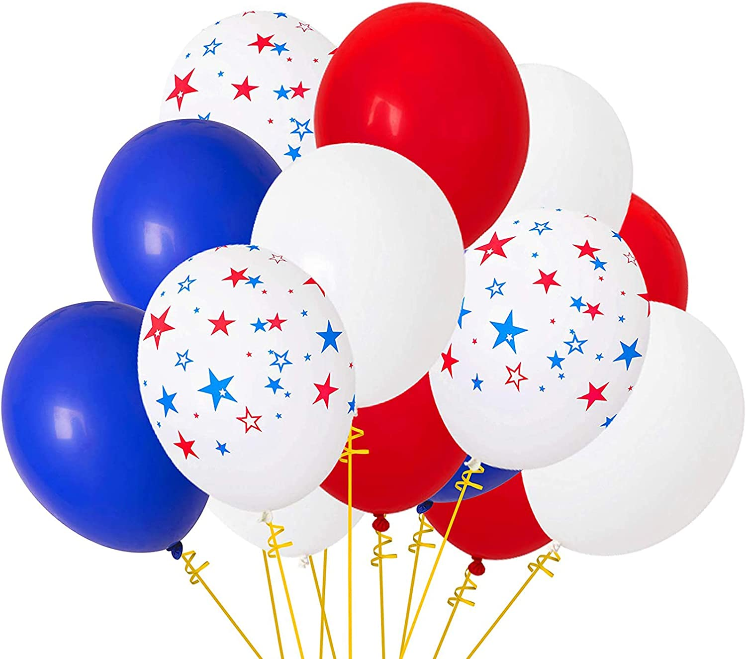 Patriotic Decorations Star Latex Balloons - Red Blue White - Fourth of July Party Supplies(115Ct)