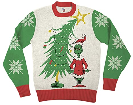 Amazon.com Dr. Seuss Grinch As Santa Next to Tree Adult Off,White Ugly  Christmas Sweater Clothing
