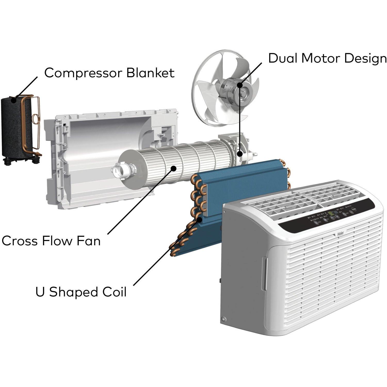 amazoncom haier esaq406p serenity series btu 115v window air conditioner with led remote control home u0026 kitchen