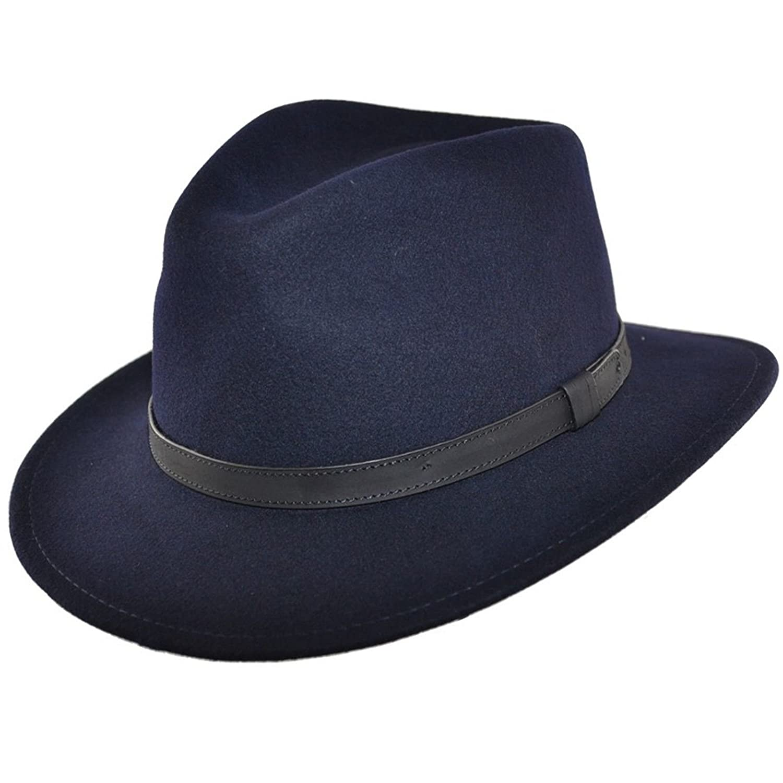 Navy MAZ Crushable Felt Fedora HAT 100/% Felt Wool Elegant HAT