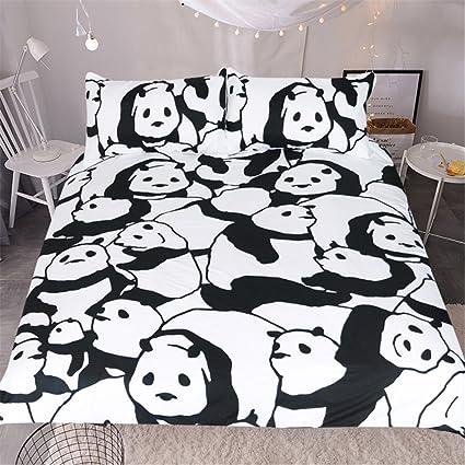 ktlrr Panda Juego de ropa de cama, Cute Cartoon Blanco y Negro Panda ...