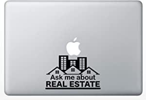 Crazy4Decals Ask ME About Real Estate Decal Vinyl Sticker 20 Colors for Laptops, Ipads, Car Windows, Doors, Office Walls Realtor and Any Smooth Surface. 3 Different Sizes (Black, 6
