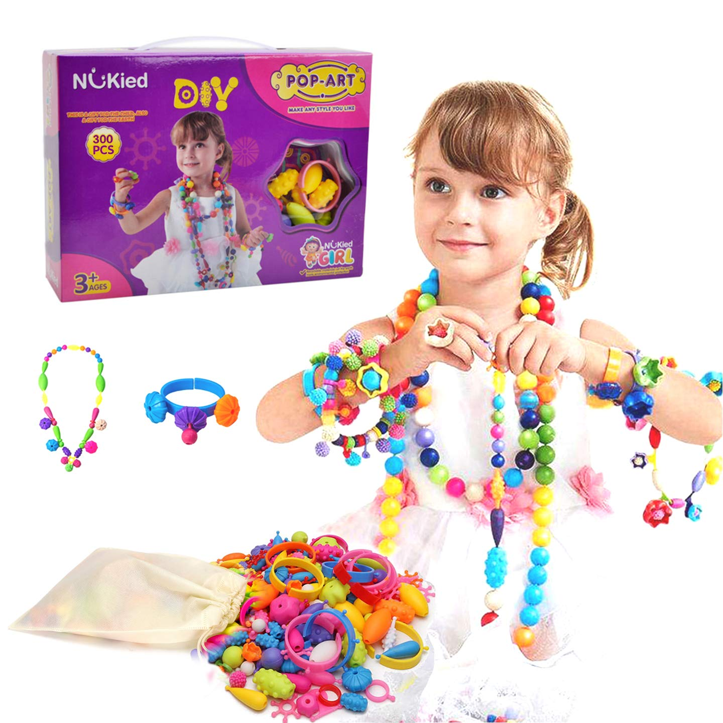 Snap Pop Beads Girls Toy Happytime 300 Pieces DIY Jewelry Kit Fashion Fun for Necklace Ring Bracelet Art Crafts Toys for 3 4 5 6 7 8 Year Old Kids Girls
