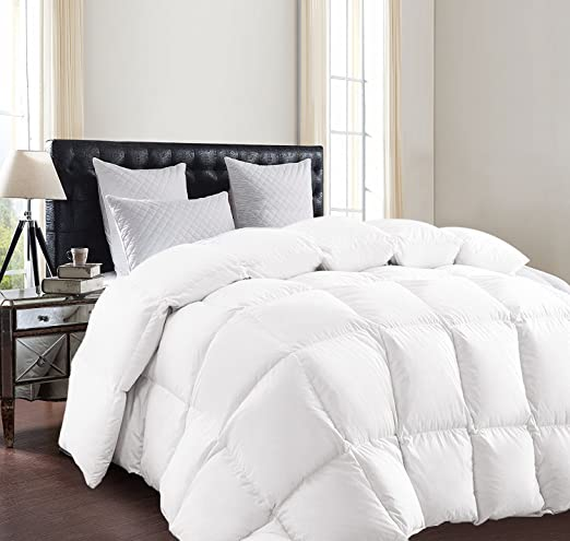 SUNTQ Luxurious Goose Down Comforter duvet 800 Thread Count 750+ Fill Power 100% Cotton Shell Down Proof (Queen)