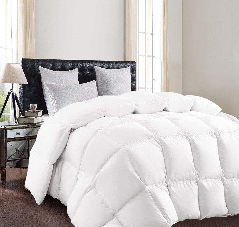 SUNTQ Luxurious Goose Down Comforter duvet 800 Thread Count 750+ Fill Power 100% Cotton Shell Down Proof (Queen)