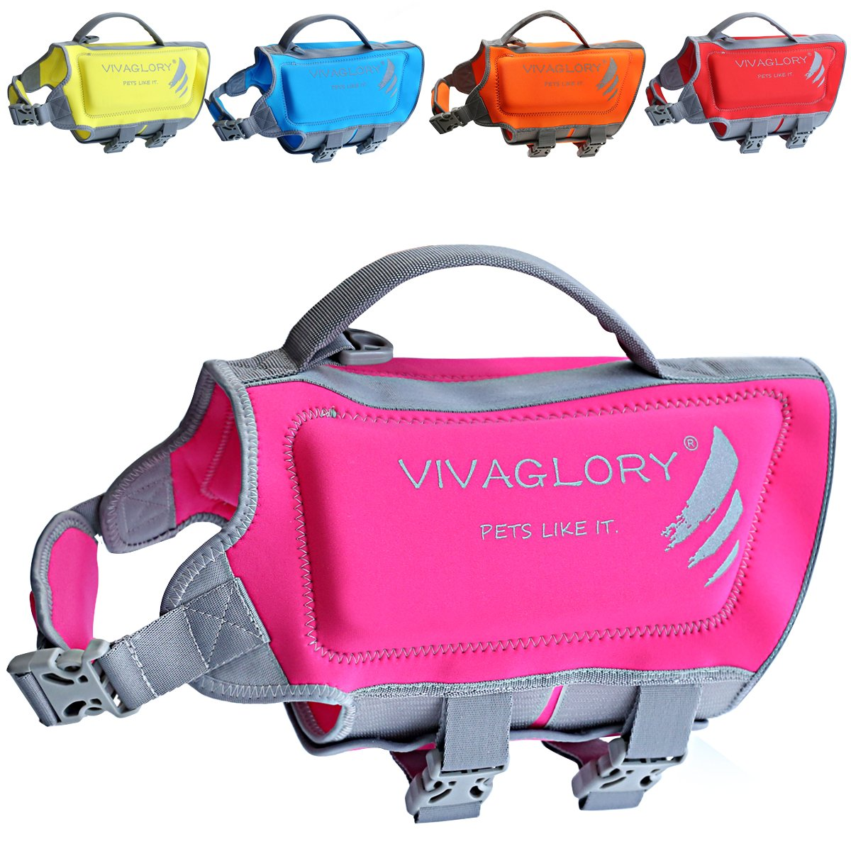 Vivaglory Pet Life Vest, Skin-Friendly Neoprene Dog Safety Vest with Superior Buoyancy and Rescue Handle, Reflective & Adjustable, Pink, Medium by Vivaglory (Image #1)
