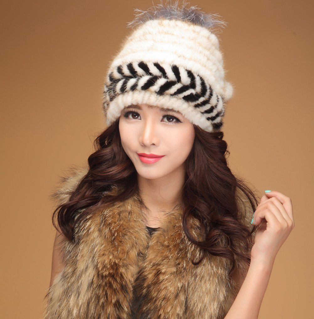 MINGXINTECH womens real rabbit fur knit weave hat snow skiing winter warm hearband by MINGXINTECH (Image #2)