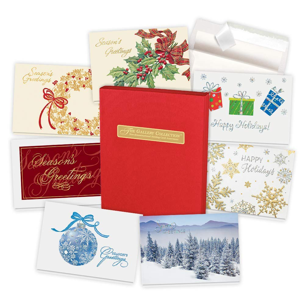 The Gallery Collection Christmas Cards.Holiday Cards Assortment Box 35 Greeting Cards With Foil And Embossing Non Denominational