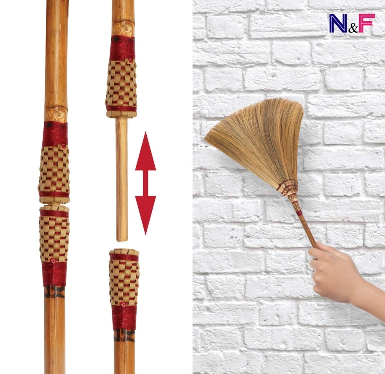Natural Grass Broom Thai Broom Broomstick Bamboo Stick Handle Witch Broom Handmade Broom Housewarming Gift Traditional Thailand by Kalokekala