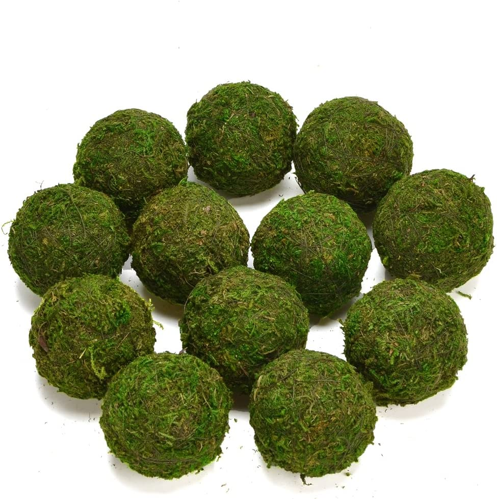 """Byher Natural Green Moss Decorative Ball,Handmade (2.8""""-Set of 6)"""