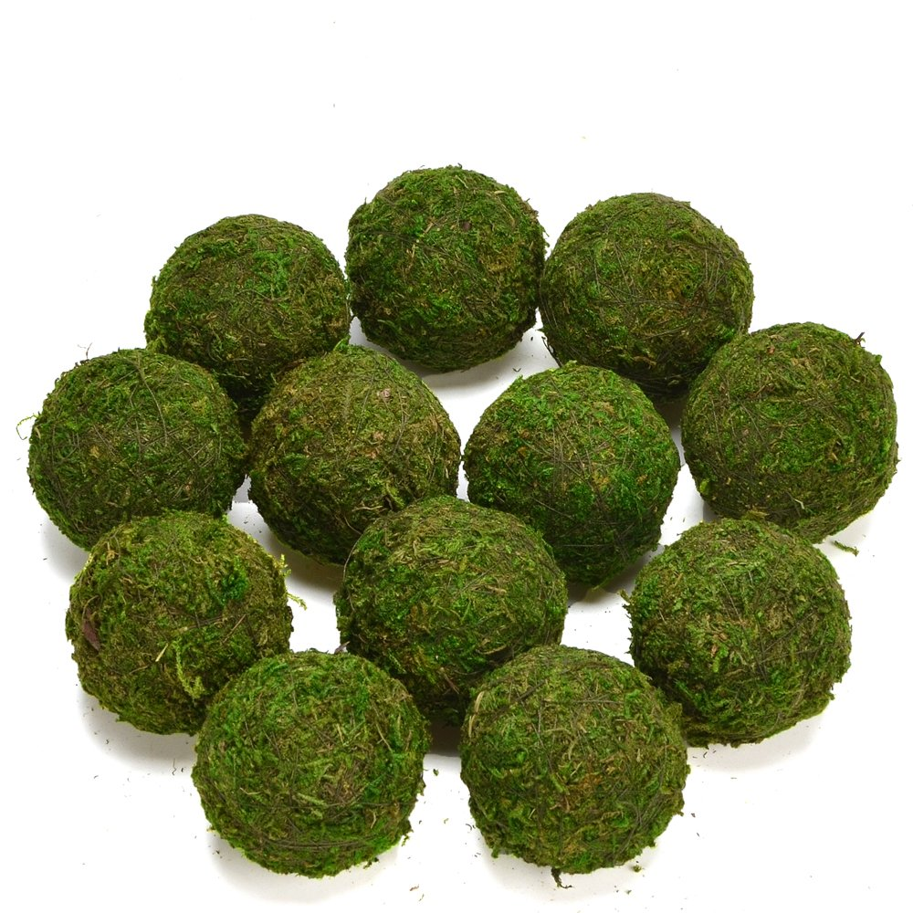 Byher Decorative Ball Natural Green Moss Handmade (3.5''-Set of 6) by Byher