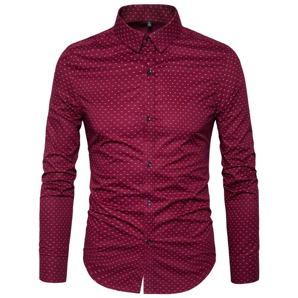 MUSE FATH Men' s Printed Dress Shirt-Cotton Casual Long Sleeve Shirt-Regular Fit Button Down Point Collar Shirt