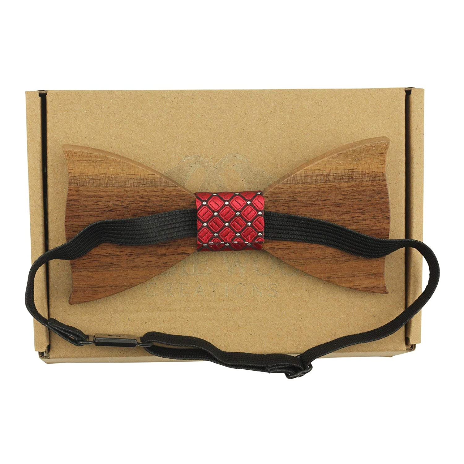 Solid Pointed Butterfly Wooden Bow Tie with Black Faux-Leather Centre