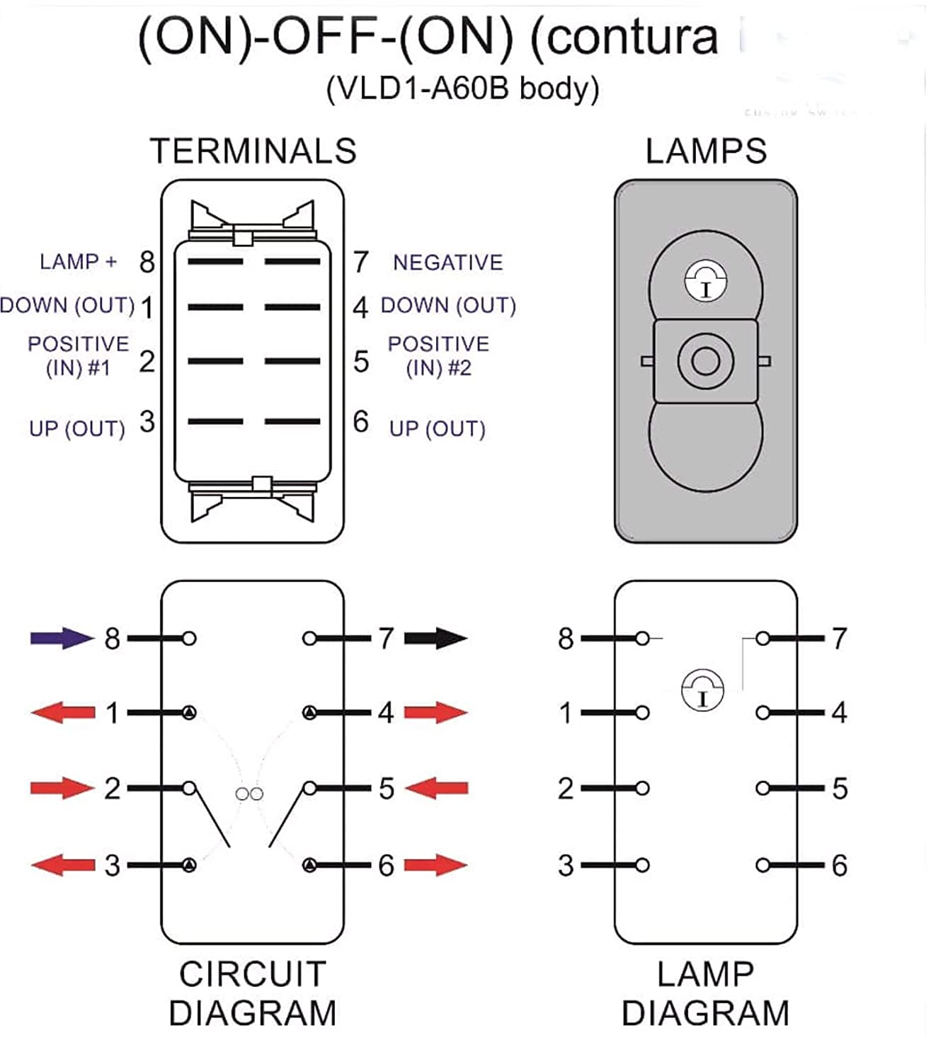hh dpdt wiring diagram best wiring library Daystar Switch Wiring Diagram amazon com rocker switches dp on off on 20a 12v sealed non ill rh amazon com hh dpdt wiring diagram