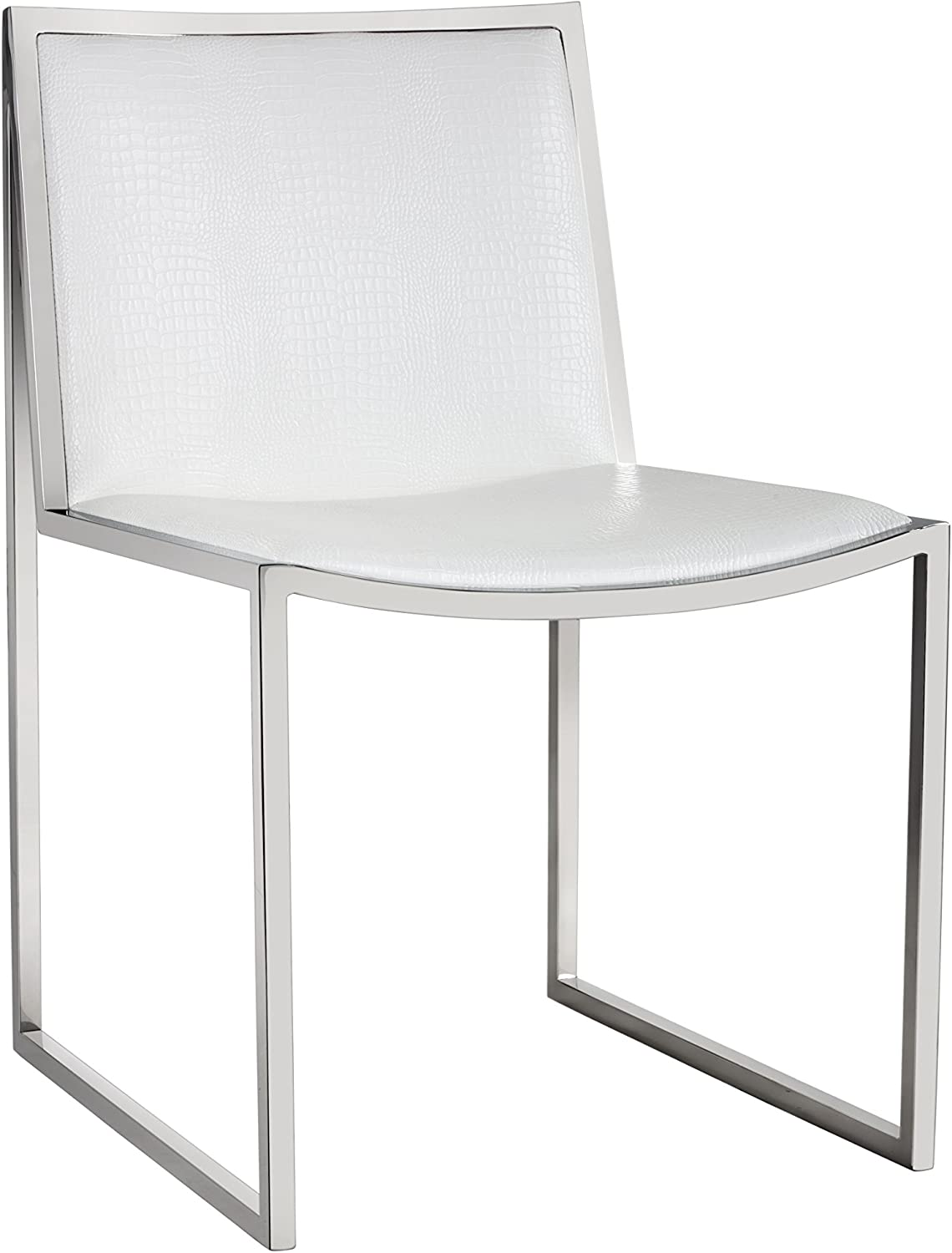 Amazon Com Sunpan Modern Blair Dining Chair In White Croc Leatherette Set Of 2 Chairs
