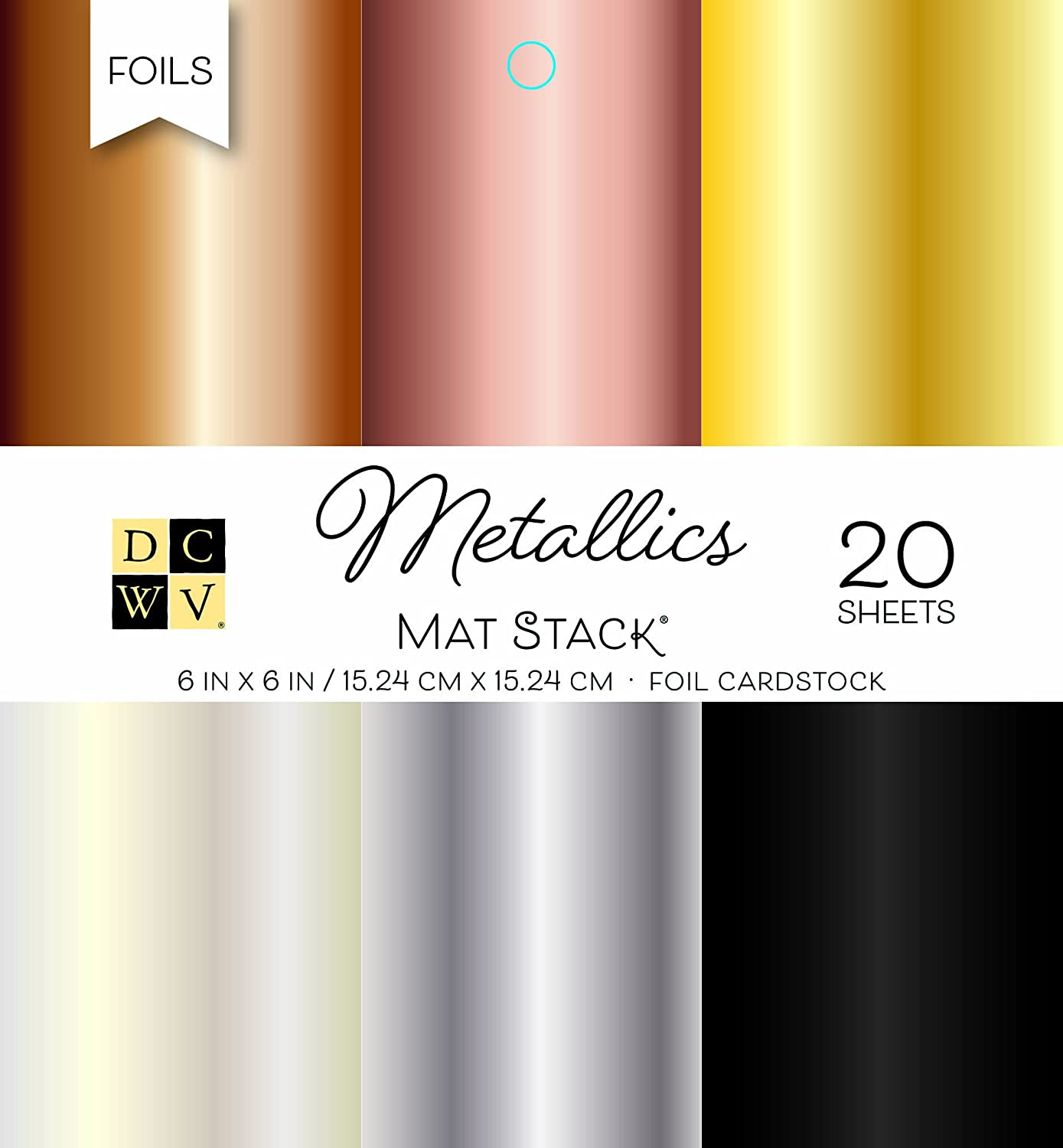 American Crafts Card Stock Dcwv 6X6 Cardstock Stack: Metallics Die Cuts With A View PS-006-00101