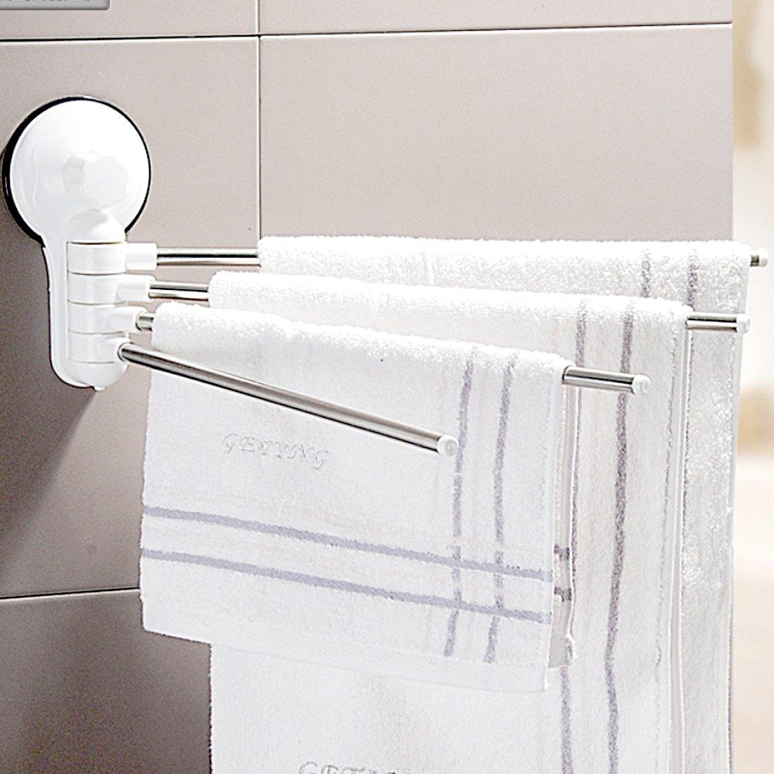 YOMYM 180 ° Rotating Swing Arm Towel Bar Stainless Steel Sucker 4-bar Hotel Towel Rack