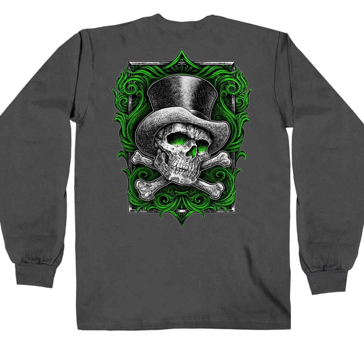Hot Leathers Men's Top Hat Cross Bones Long Sleeve Shirt (Charcoal, X-Large)