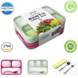 Leakproof Bento Lunch Box Container For Kids and Adult –2 Leakproof Containers with 3 and 4 Compartments–1 Tableware Set(Stainless Steel spoon and fork)–BPA Free Microwave and Dishwasher Safe