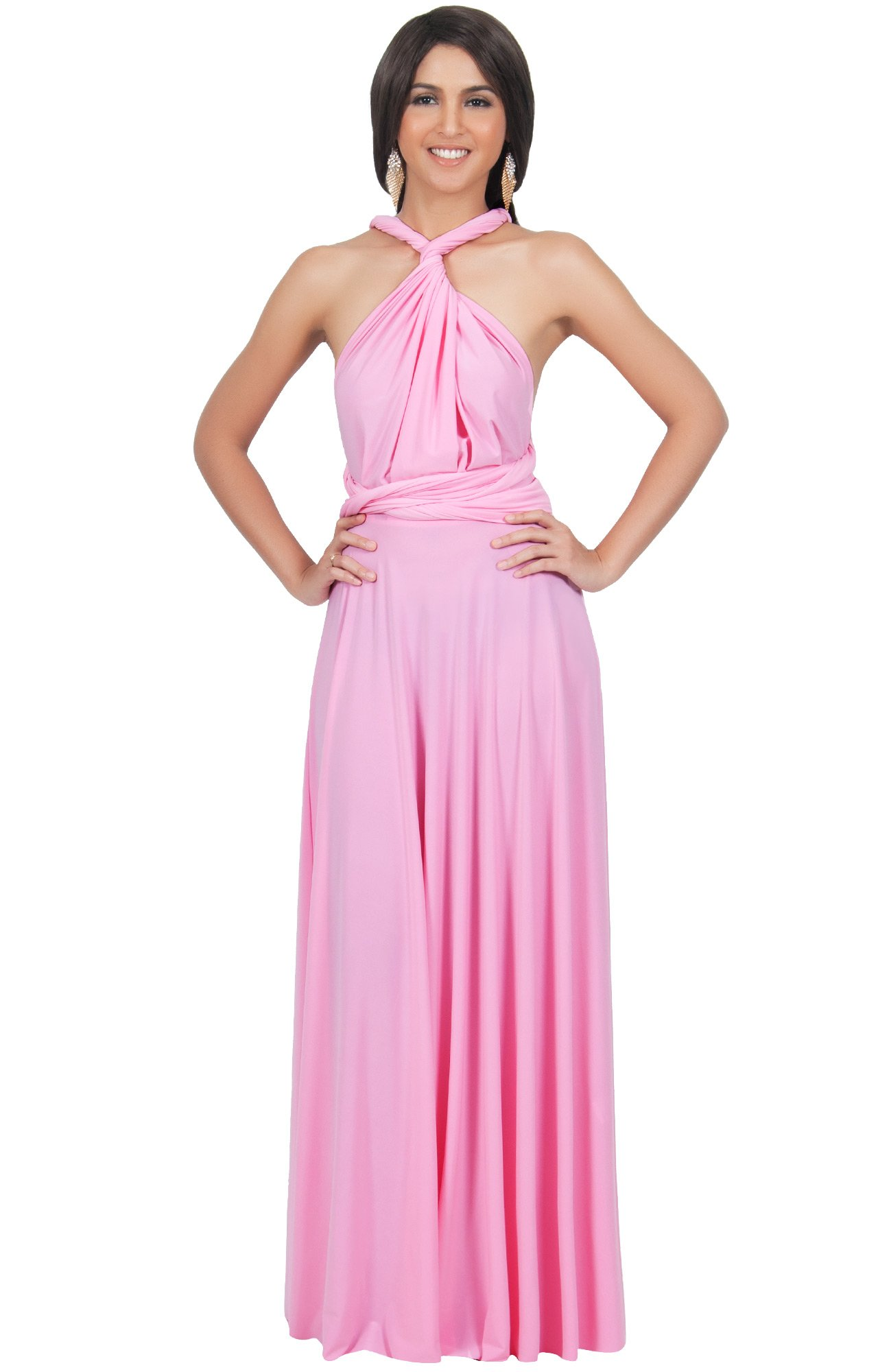 KOH KOH Womens Long Bridesmaid Multi-Way Wedding Convertible Wrap Infinity Cocktail Sexy Summer Party Formal Prom Transformer Gown Gowns Maxi Dress Dresses, Hot Fuschia Pink M 8-10