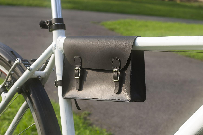 Fahrrad Rahmen Tasche handgefertigt Natural Leder Tan 21,8 x 16,5 x ...