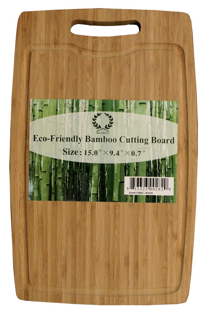 amazon da vinci natural bamboo cutting board with handle groove