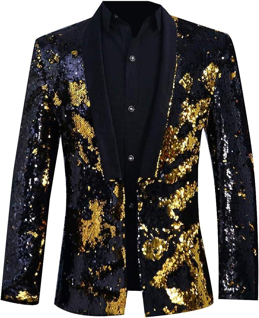 Zimaes-Men Metallic Shimmer Sharp Shoulder Moderator Dinner Jacket