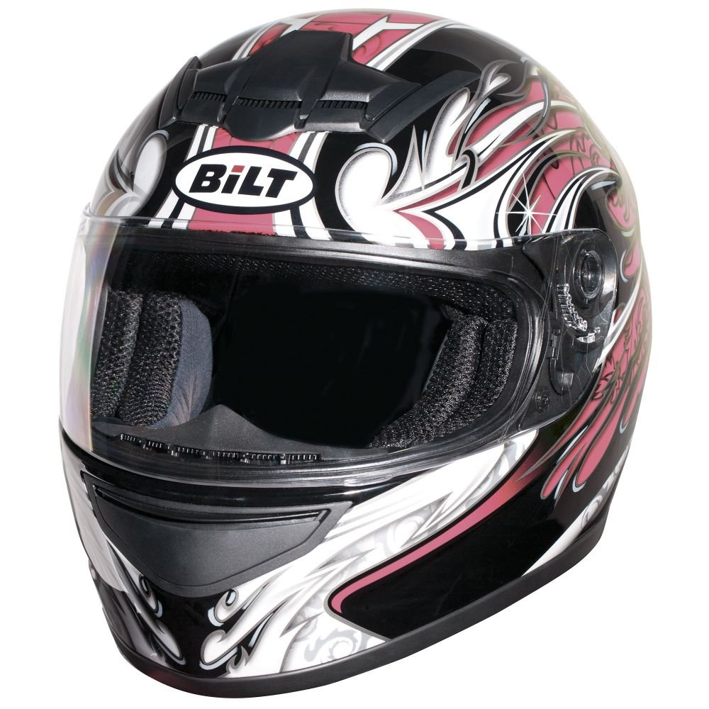 Amazon.com: BILT Womens Racer Full-Face Motorcycle Helmet - MD, Black/Pink: Automotive