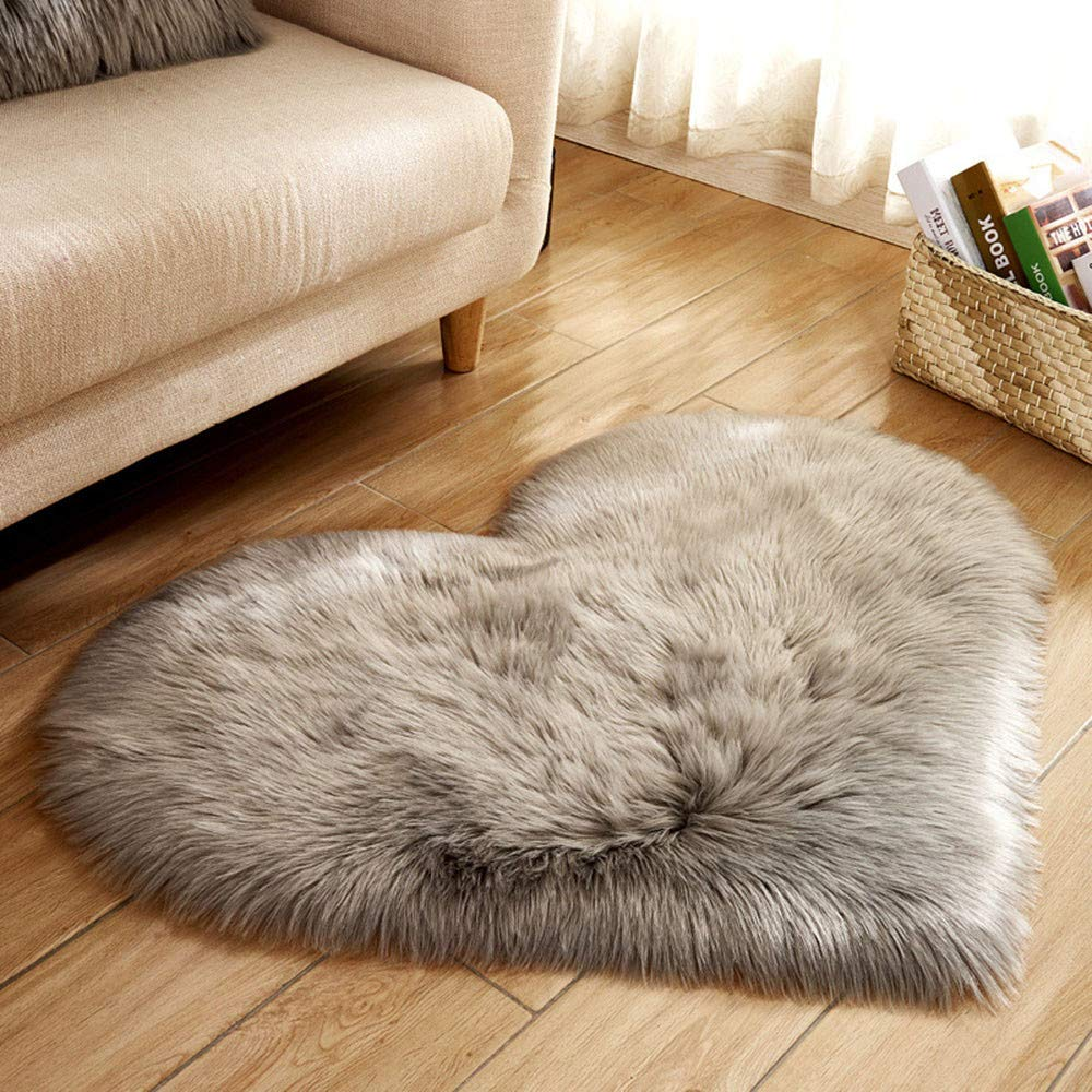 YJYDADA Wool Imitation Sheepskin Rugs Faux Fur Non Slip Bedroom Shaggy Carpet Mats 40 x 50 cm (A)