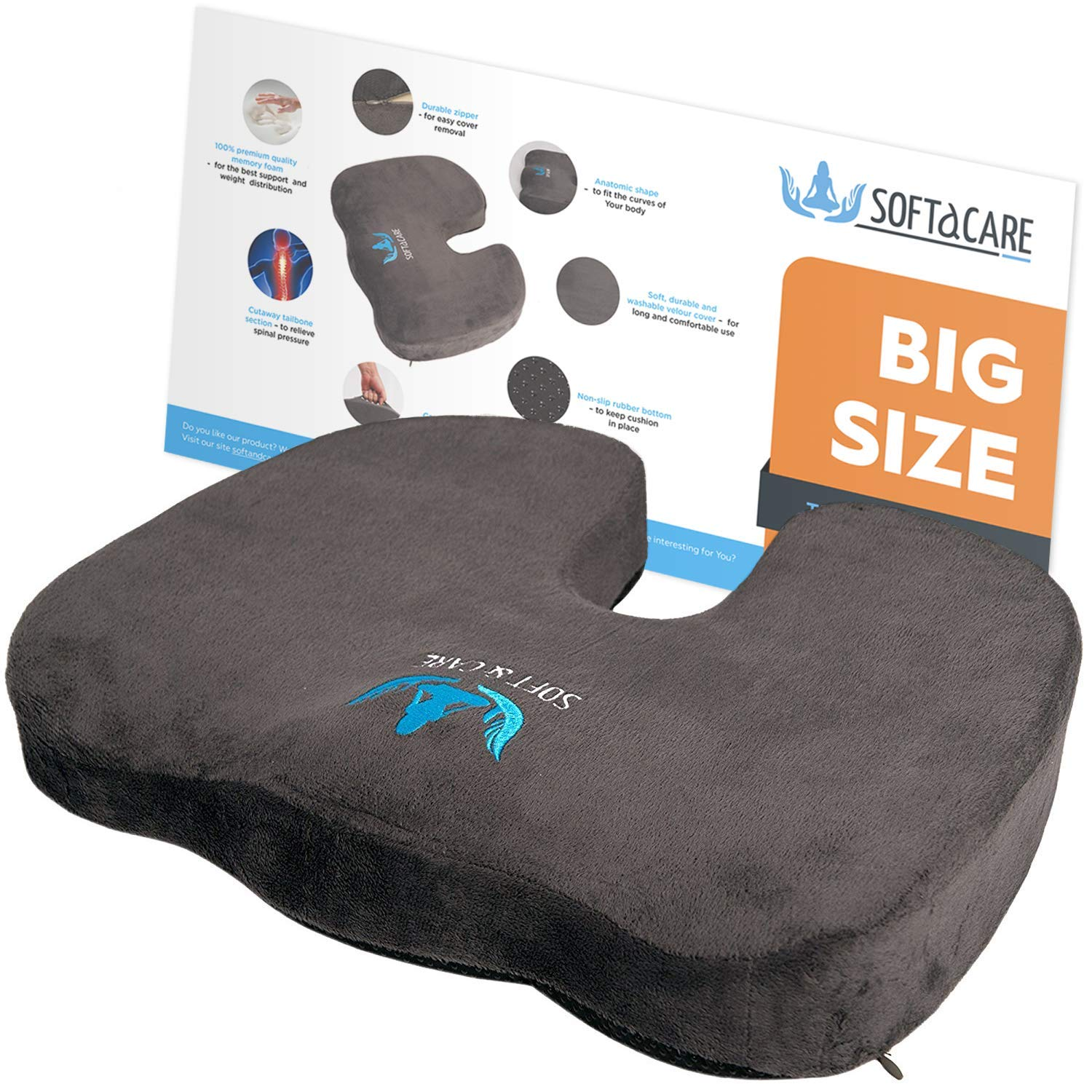 "SOFTaCARE BEST Seat Cushion – BIG Cushion Seat - Office Chair Cushion 18""x16""x 3 1/2'' - Chair Pillow Memory Foam! Ideal Car Seat Cushion - Coccyx Cushion - Relieve Your Pain. Size has the meaning!"