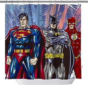 GOODCARE Superman Batman Flash Classic Shower Curtain Marvel Heroes Polyester Fabric Shower Curtains for Bathroom, Bath Decor Curtain Set Including Hooks, 71x71inch