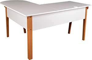 Lorell Mid-Century Modern Office Desk, White