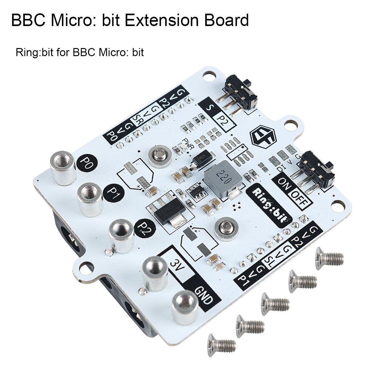 MakerHawk Anillo de Placa de extensió n BBC Microbit: Soporte de bit Conexió n de Tres servos, manejo de Todo Tipo de mó dulos de GVS Soporte de Dispositivo Bluetooth 4.0 para BBC Microbit Board