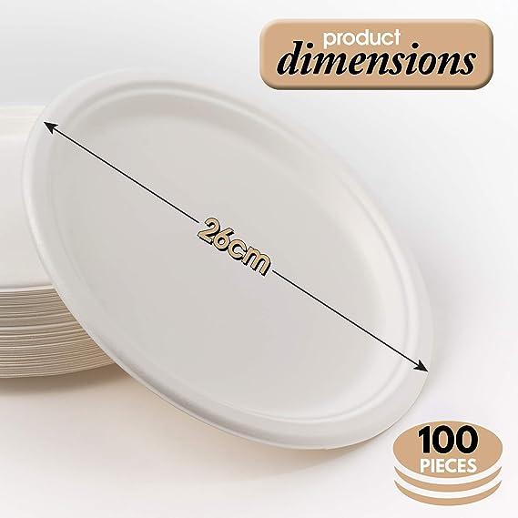 100 Platos Desechables de Papel de Caña de Azúcar, 26cm - Rigido y ...