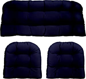 Navy Dark Blue Solid Fabric Cushions for Wicker Loveseat Settee & 2 Matching Chair Cushions