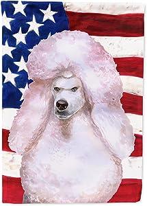 Caroline's Treasures BB9717GF White Standard Poodle Patriotic Flag Garden Size, Small, Multicolor