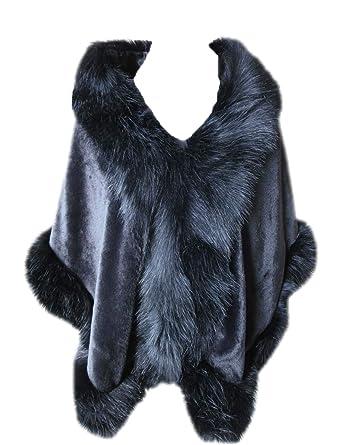 38e0d7f5599fc Women s Faux Rex Rabbit Fur Cape Poncho with Faux Fox Fur Trim Coat Wedding  Party (Black)  Amazon.co.uk  Clothing