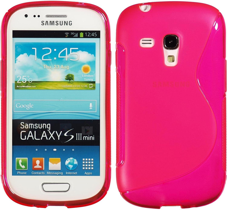 Coque en silicone pour Samsung Galaxy S3 Mini – S-Style Rose Chaud – Cover PhoneNatic Feuilles de protection