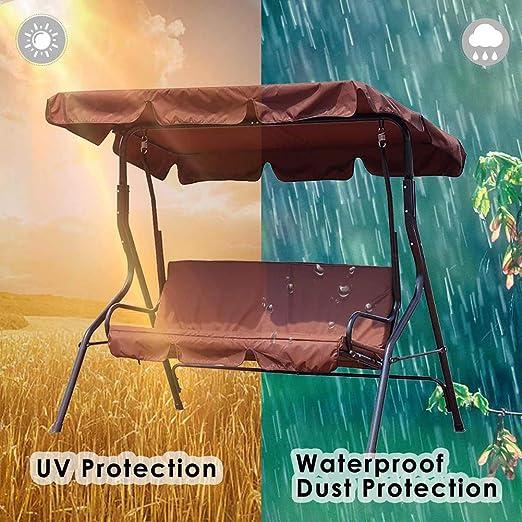 Funda para Silla de Columpio, Toldo de Repuesto+Cubiertas para los Asientos para balancín Resistente al Agua Protección UV Cubierta para Muebles de Patio, Marrón: Amazon.es: Jardín