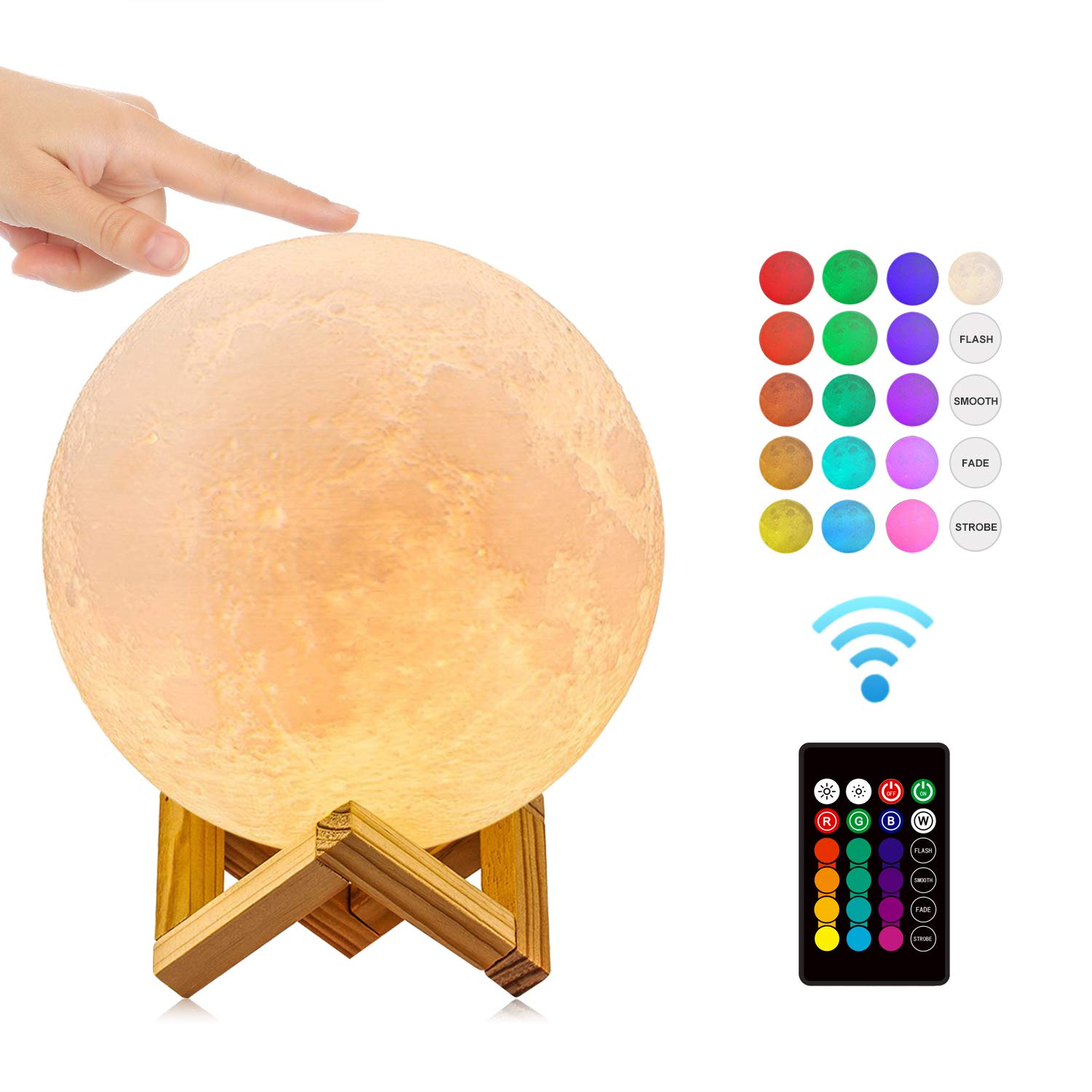 Moon Lamp GDPETS Night Light Kids Gift Sets 3D Printing Moon Light, Remote & Touch Control 16 Color Decorative Light Brightness Adjust Decorative Light Lamps for Baby/Kids/Family/Friends(7.1Inch)