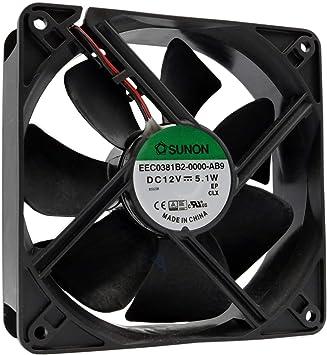 Sunon Ventilador 120 mm 120 x 120 x 38 EEC0381B2-0000-AB9 12 V DC 0,42 A 5,1 W Air Fan 12 cm 2 hilos (+/-) Refrigeración: Amazon.es: Electrónica