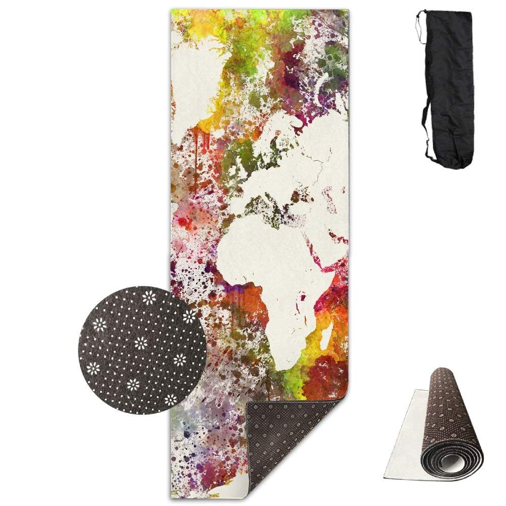 Watercolor World Map Deluxe Yoga Mat Aerobic Exercise Pilates