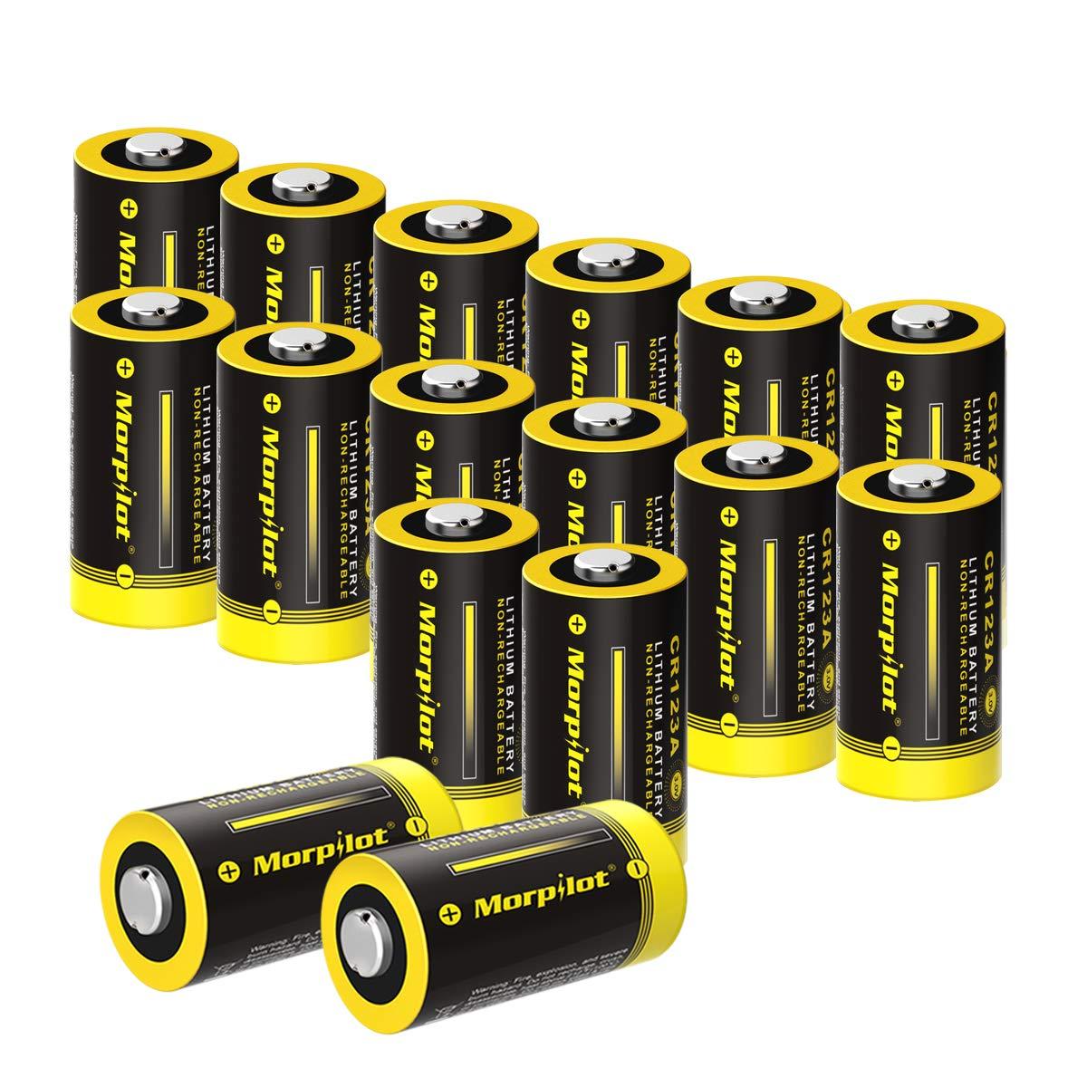 Batterien CR123A / CR123, 16Stück 3V 1500mAh CR17345 Lithium Batterie für Digitalkameras, Alarmanlagen, Sicherheitstechnik, Rauchmelder, Taschenlampen usw. - [Nicht wiederaufladbar]