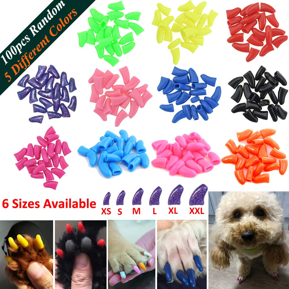 JOYJULY 100pcs Dog Nail Caps Soft Claw Covers Nail Caps for Pet Dog Pup Puppy Paws Home Kit, 5 Different Colors RANDOM, with Glue, Tips and Instruction