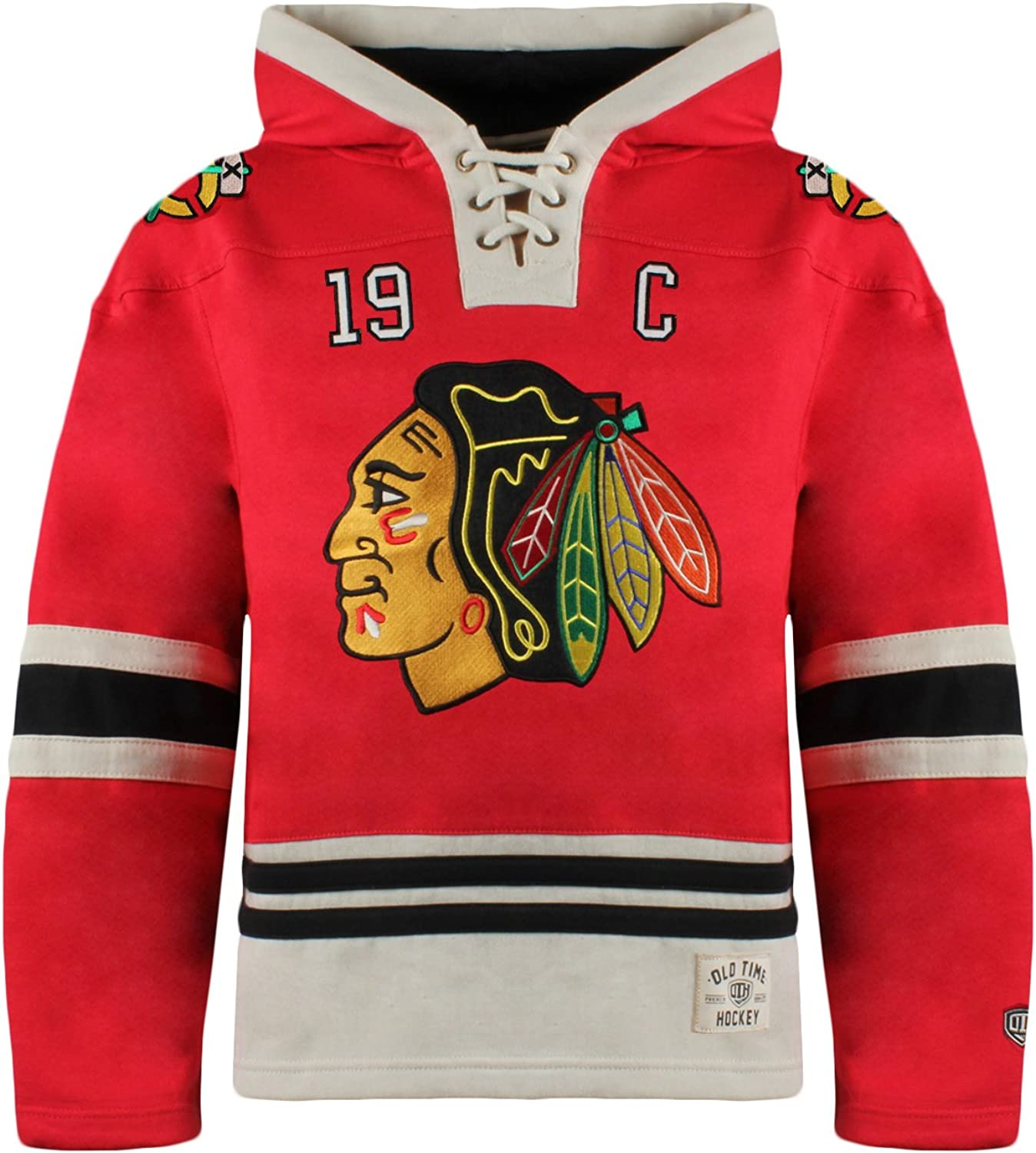 Red X-Large Old Time Hockey NHL Chicago Blackhawks Jonathan Toews Youth Player Lacer Name /& Number Hoodie